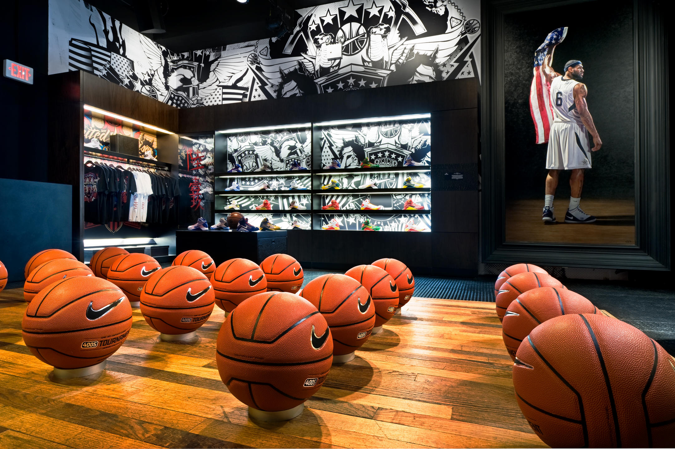 NIKE gallery in Harlem, NYC featuring NIKE products used by the professional basketball players : NIKE : New York NY Architectural Photographer | Interior and Exterior
