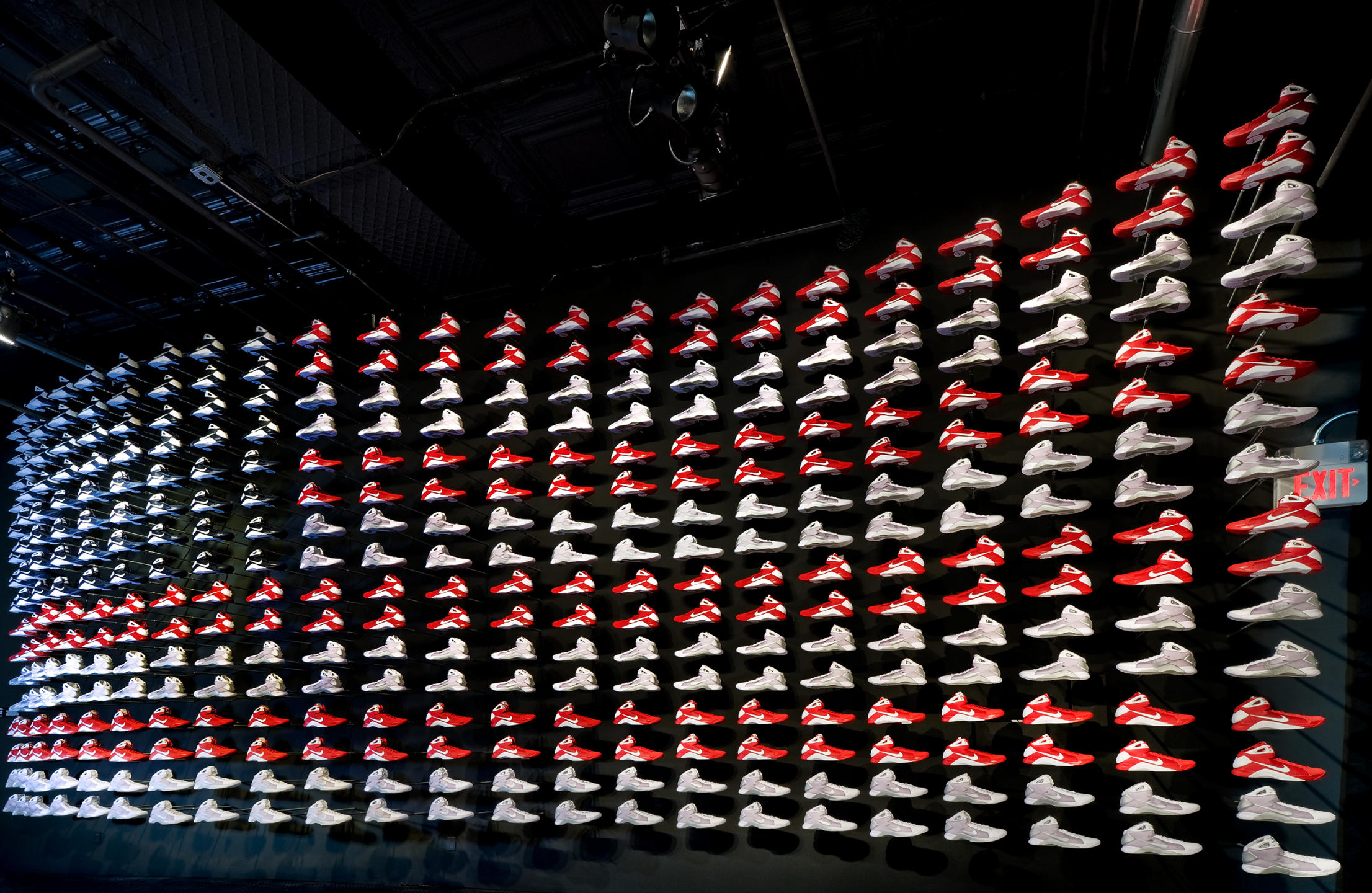 Nike sneakers as a huge American flag at the Nike Gallery in NYC : NIKE : New York NY Architectural Photographer | Interior and Exterior