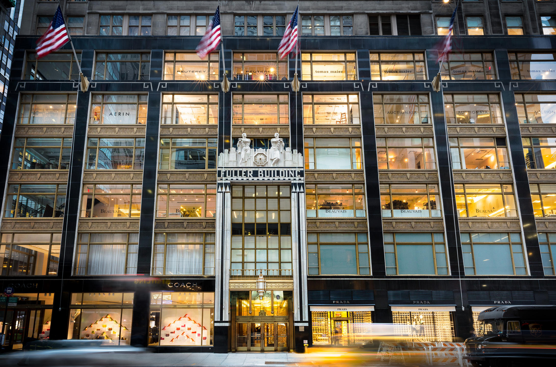 Front of the Fuller Building on 57th and Madison Avenue - NYC used on the website to set location for Dankner Milstein Lawfirm located in the Fuller Building - architectural exterior evening photograph : Miscellanous Projects : New York NY Architectural Photographer | Interior and Exterior