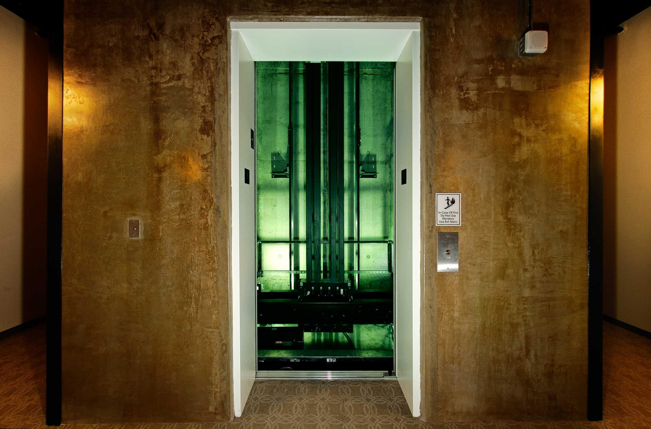 The Otis iGen elevator (without distortion)  : Proximity Hotel : New York NY Architectural Photographer | Interior and Exterior