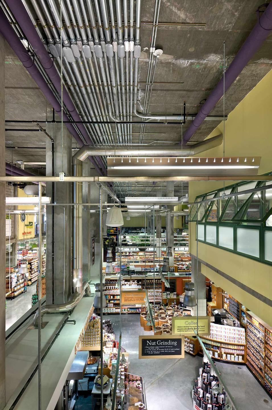 Whole Foods Market located on Houston St., NYC with interior design by SBLM in NYC and Bottinogrund in Austin, Texas.  Client requested to see conduit piping in a wide angle view. : Whole Foods Market : New York NY Architectural Photographer | Interior and Exterior