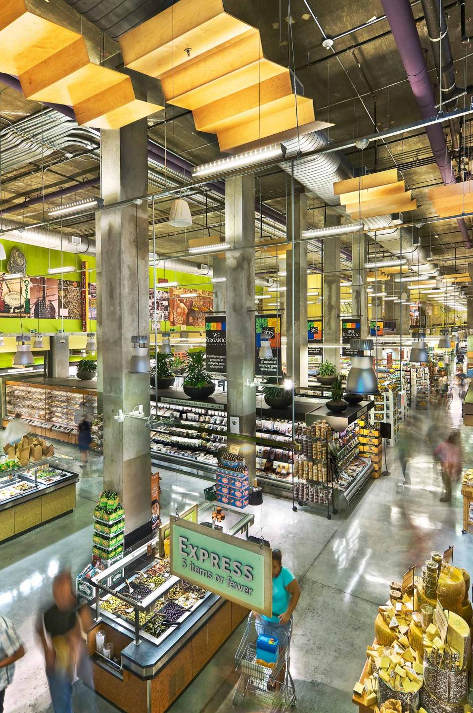 Whole Foods Market located on Houston St., NYC with interior design by SBLM in NYC and Bottinogrund in Austin, Texas. Client requested wide view and to have people interacting in the space. : Whole Foods Market : New York NY Architectural Photographer | Interior and Exterior