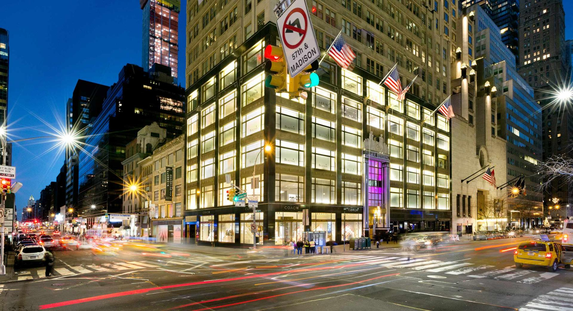 Corner of 57th and Madison Avenue - NYC used on the website to set location for Dankner Milstein Lawfirm located in the Fuller Building - architectural exterior evening photograph : Miscellanous Projects : New York NY Architectural Photographer | Interior and Exterior