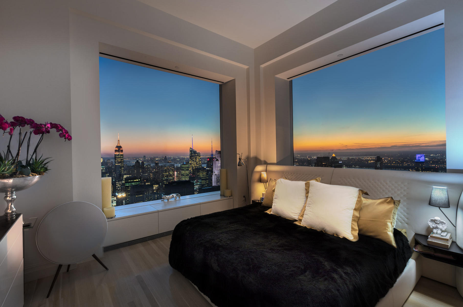NYC - 57th and Park Avenue - 66th Floor - bedroom with western and southern view of Manhattan - interiors for private client : Miscellanous Projects : New York NY Architectural Photographer | Interior and Exterior